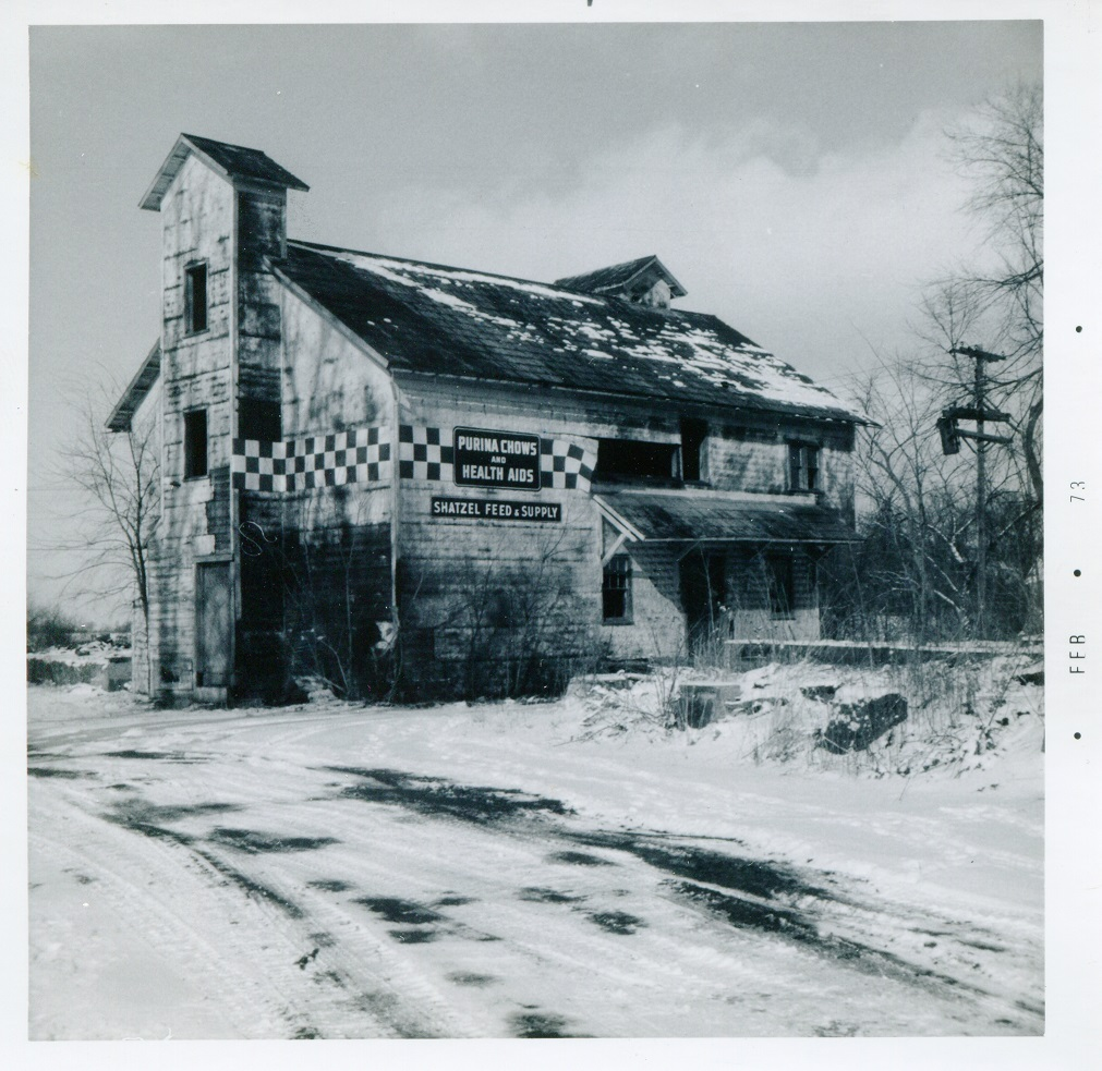 Mill St east end Brookfield at abandoned railroad feed mill 20 February 1973