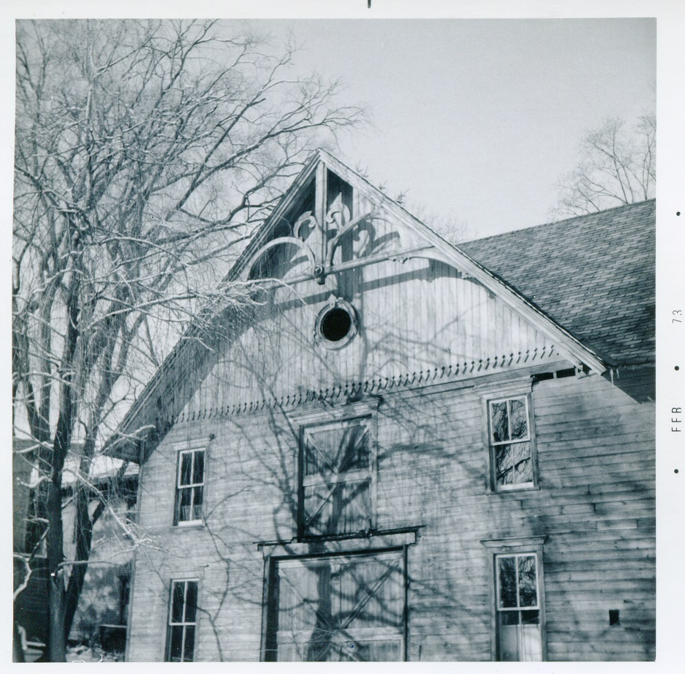 Main St and Mill St Brookfield northeast corner barn gable 20 February 1973