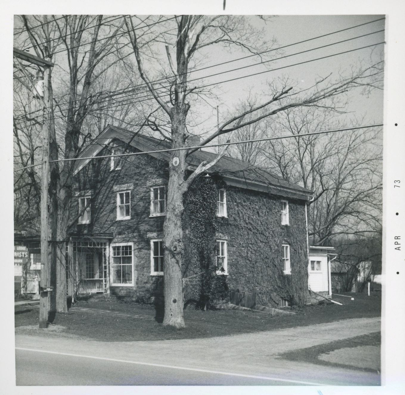 Route 20 east end of Bouckville north side stone house Washburn 20 April 1973