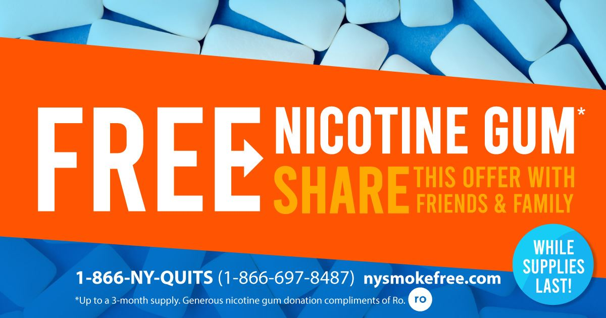 NYS Quit Line Free Nicotine Gum Promotion