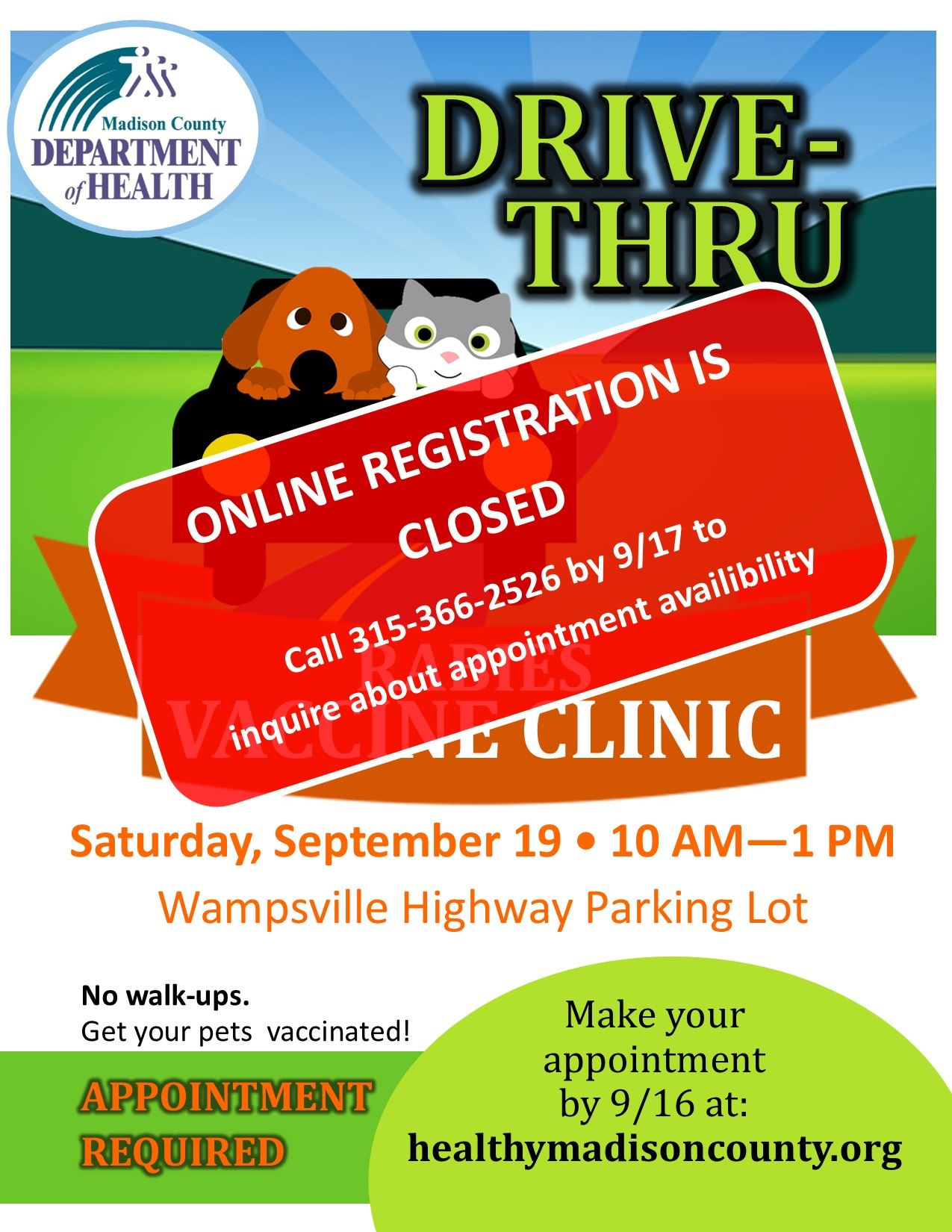 September 19th Drive-Thru Rabies Clinic Flyer
