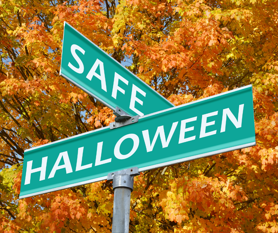 Safe Halloween Street Sign with Fall Trees Background