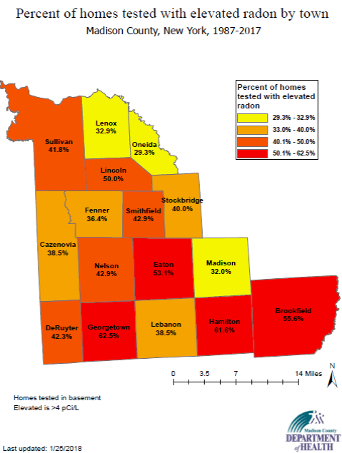 Map of Percent of Elevated Radon Levels in Home Basements by Town in Madison County