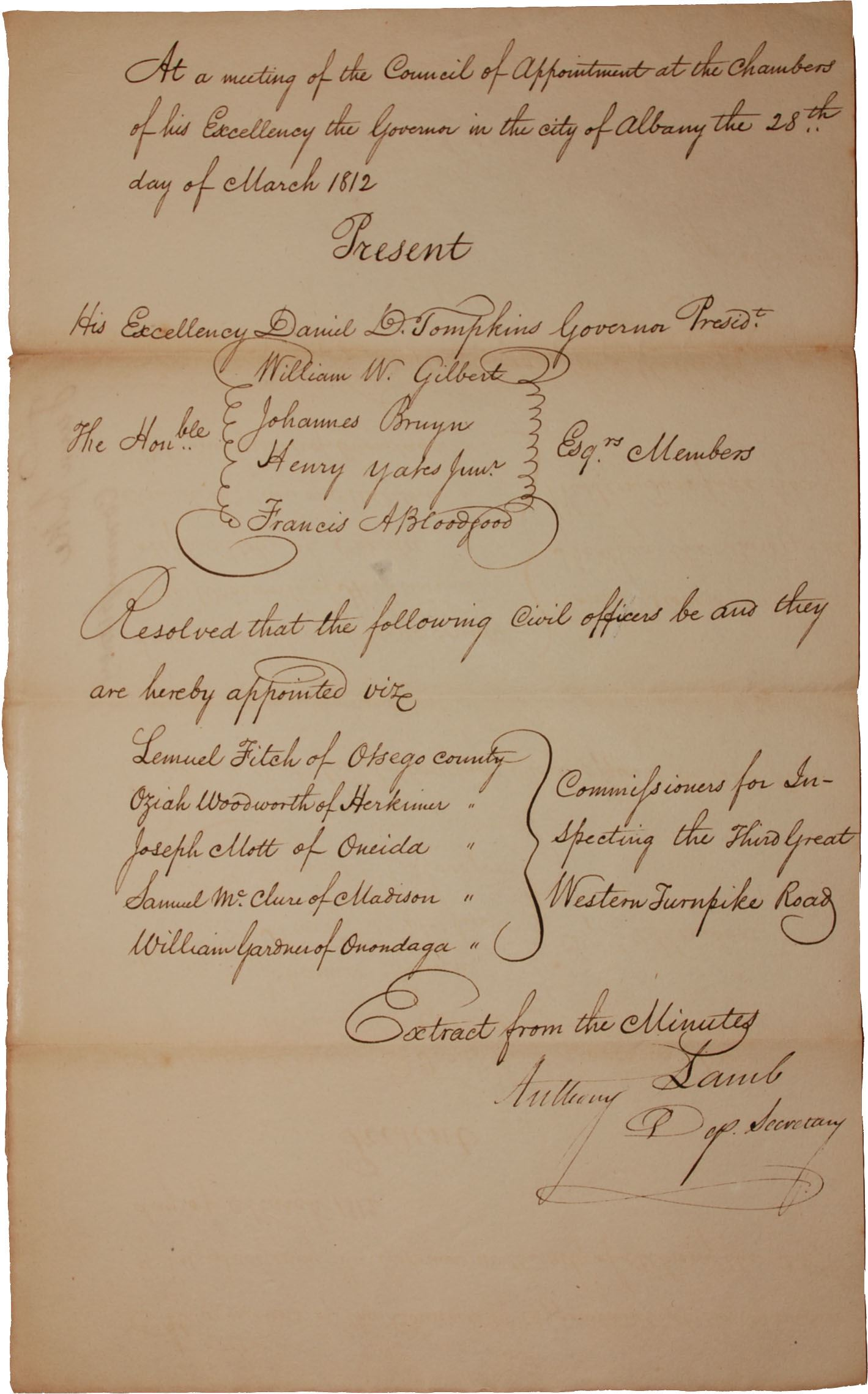 Samuel McClure appointment letter