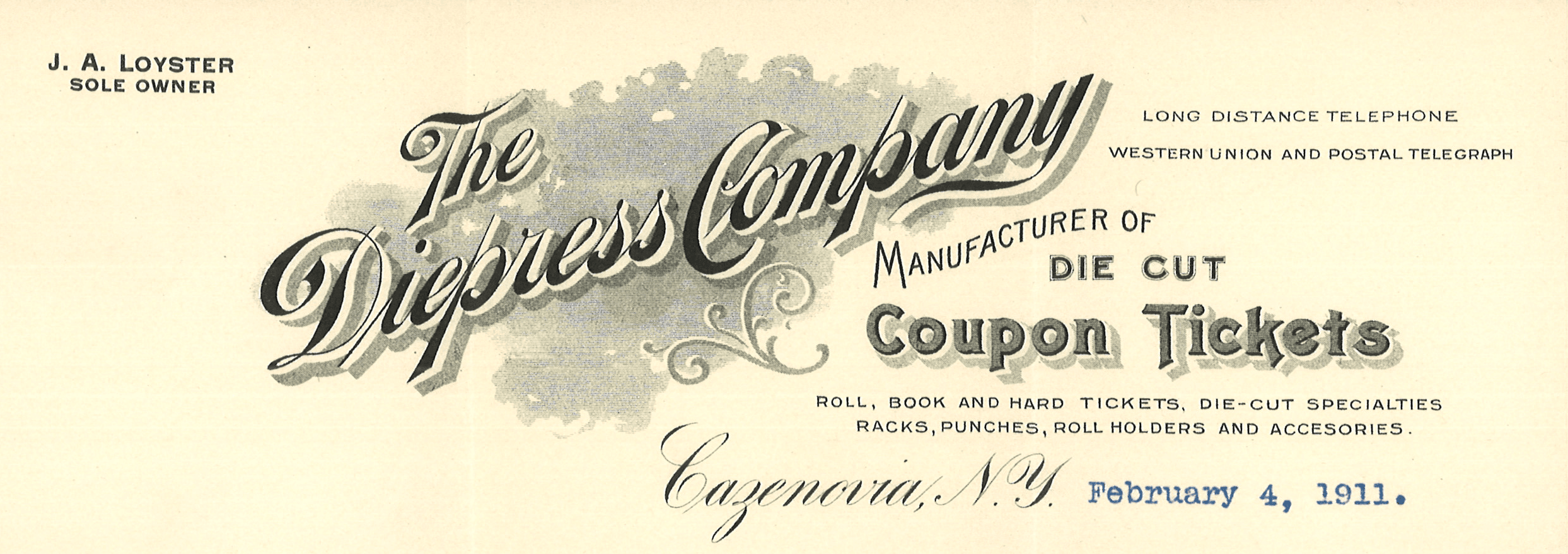 Diepress Co Letterhead - Circa 1911