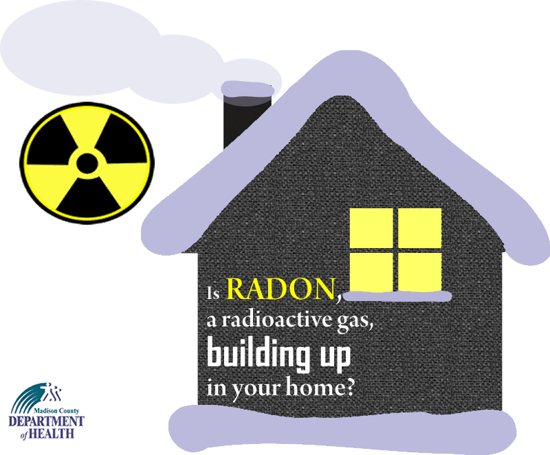 Image of a house and question is radon, a radioactive gas building up in your home