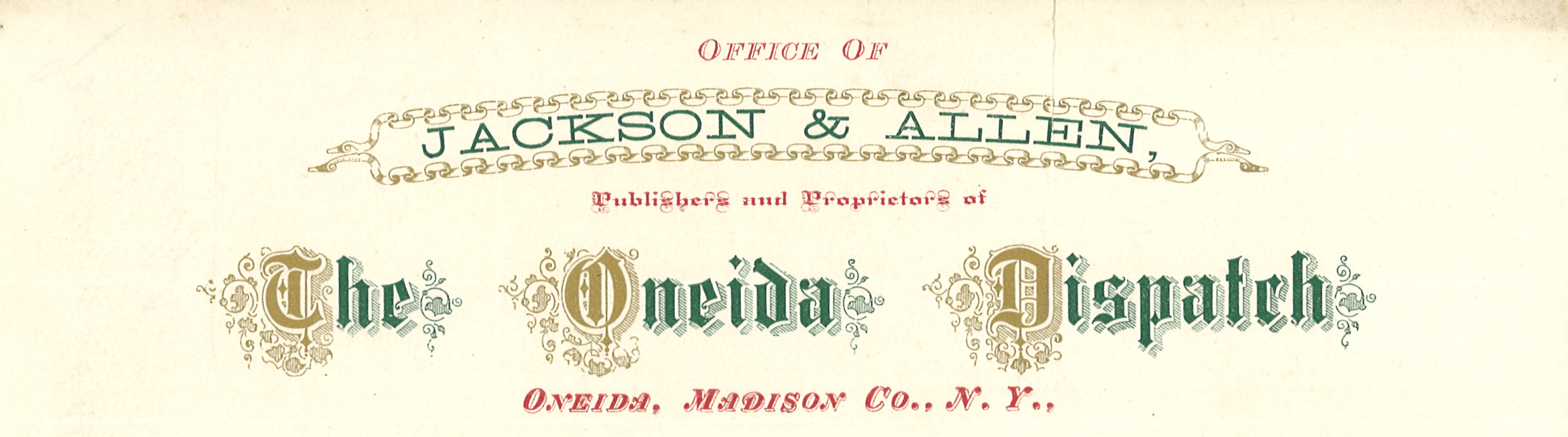 Jackson and Allen Publishers Letterhead