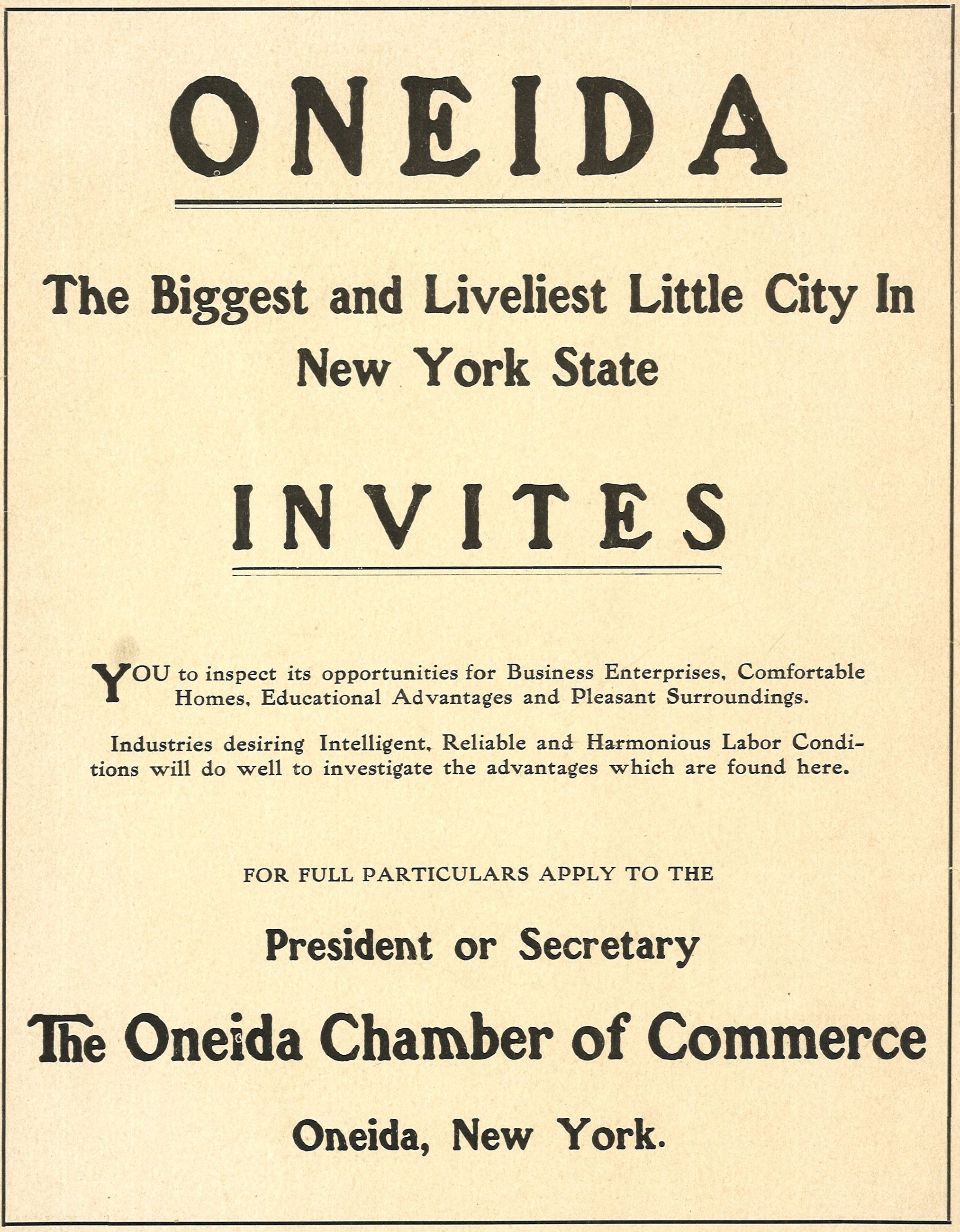 Oneida Chamber of Commerce Invitation to Companies