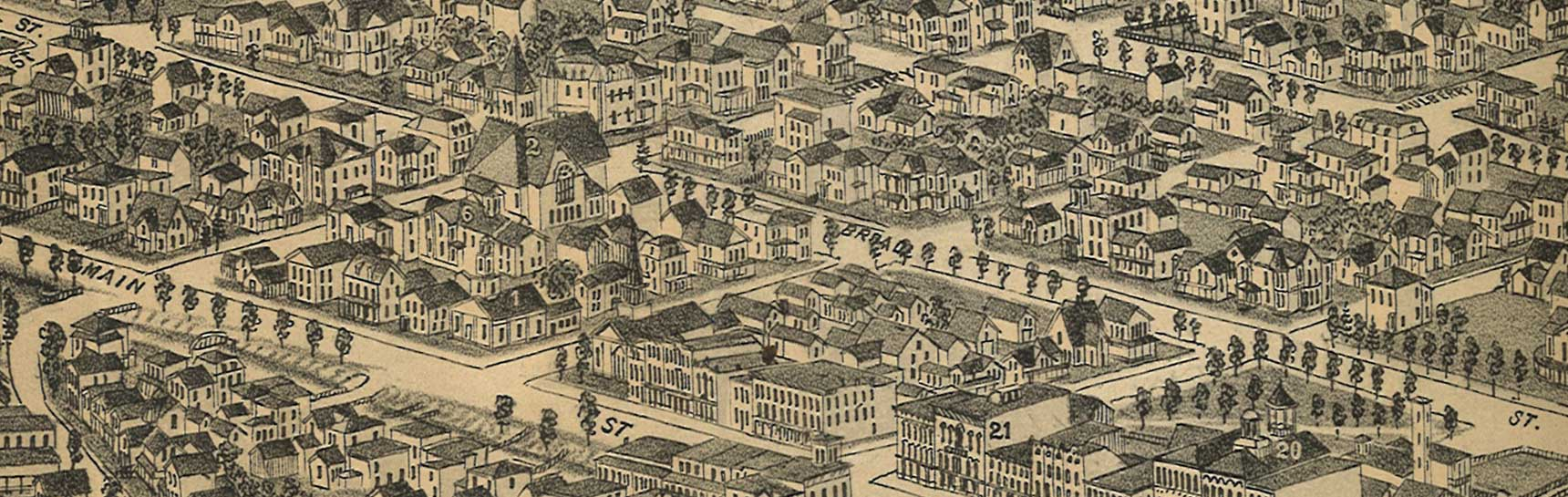 Part of Birds Eye View Map of Oneida, NY