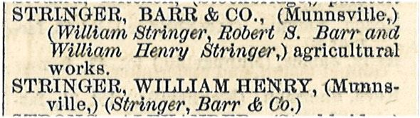 1868 Directory Listing for Stringer, Barr and Co.