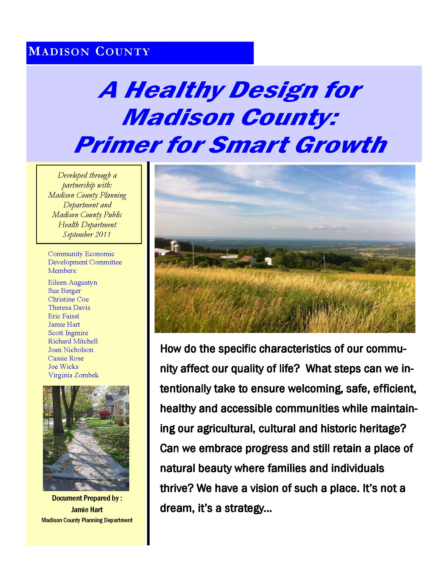 A Healthy Design for Madison County Primer for Smart Growth cover