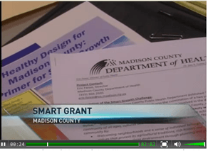 Screen shot of news cast of Smart Grant in Madison County