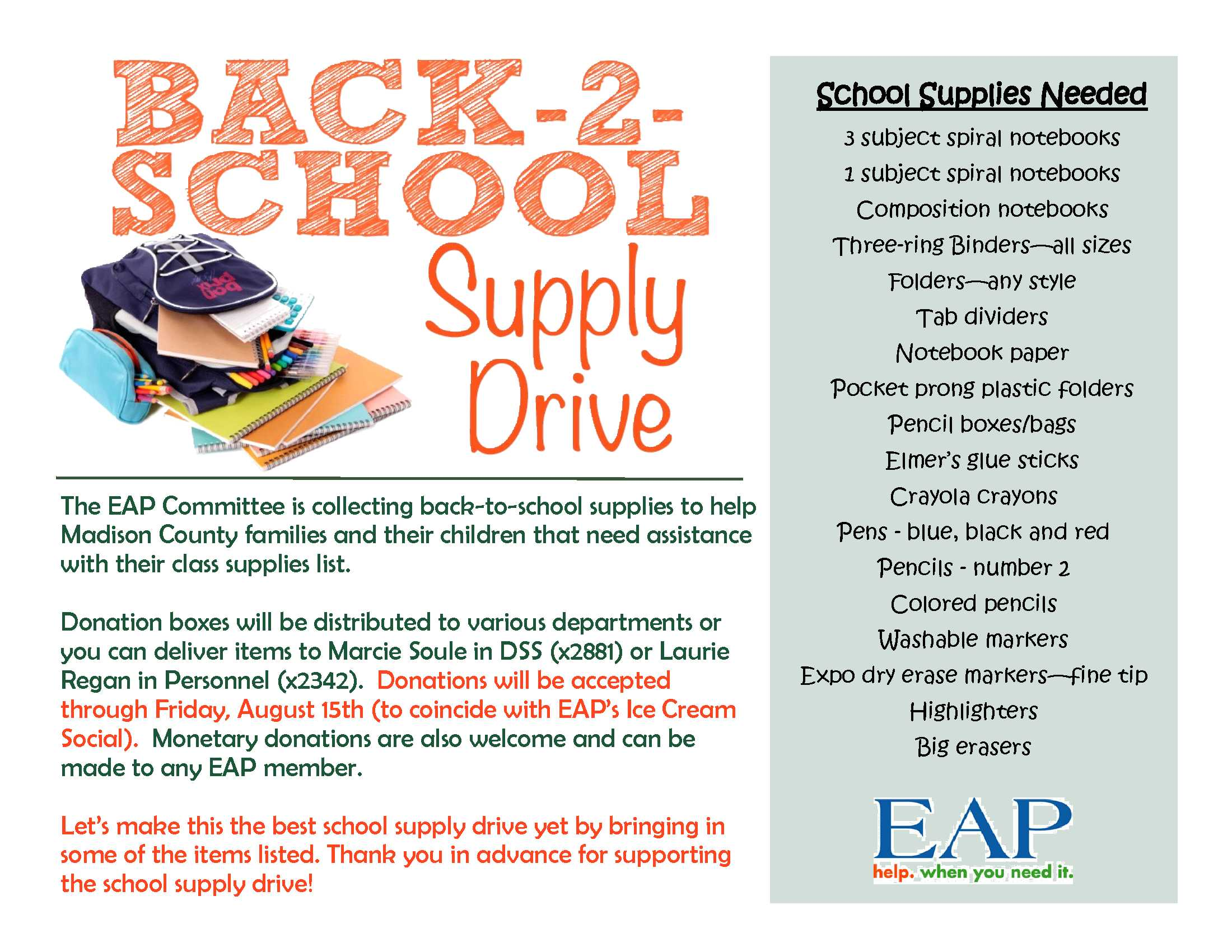 EAP school supply collection flyer