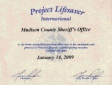 Project Lifesaver Certificate